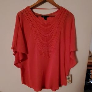 Style & Co NWT Pink Sheer Blouse - S